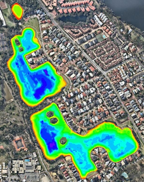 Bathymetric Survey Aerial Photo & Survey - Maylands Lakes